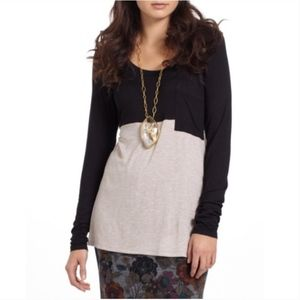 Bordeaux Anthro Duo Colorblock Long Sleeve Top
